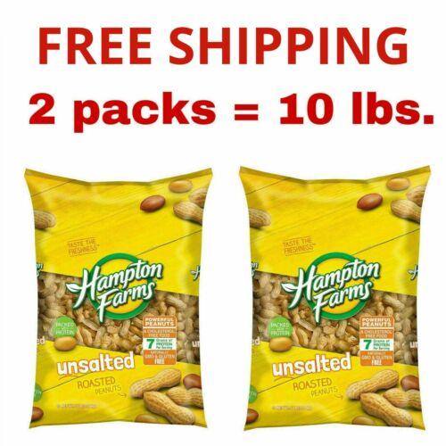 2 Packs - Hampton Farms Unsalted In-Shell Peanuts 5 lbs Total 10 lbs Gluten free
