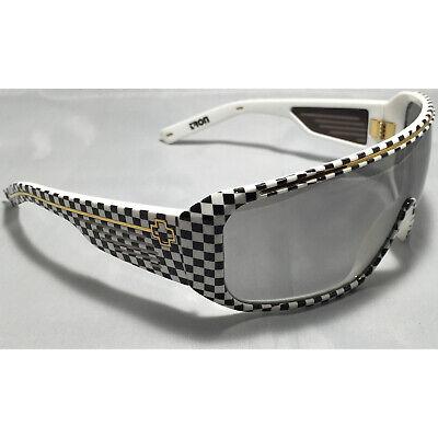 Spy Optic Tron Sunglasses White Black Checkers Gold Grey Silver Gradient (Tron Spy Sunglasses)