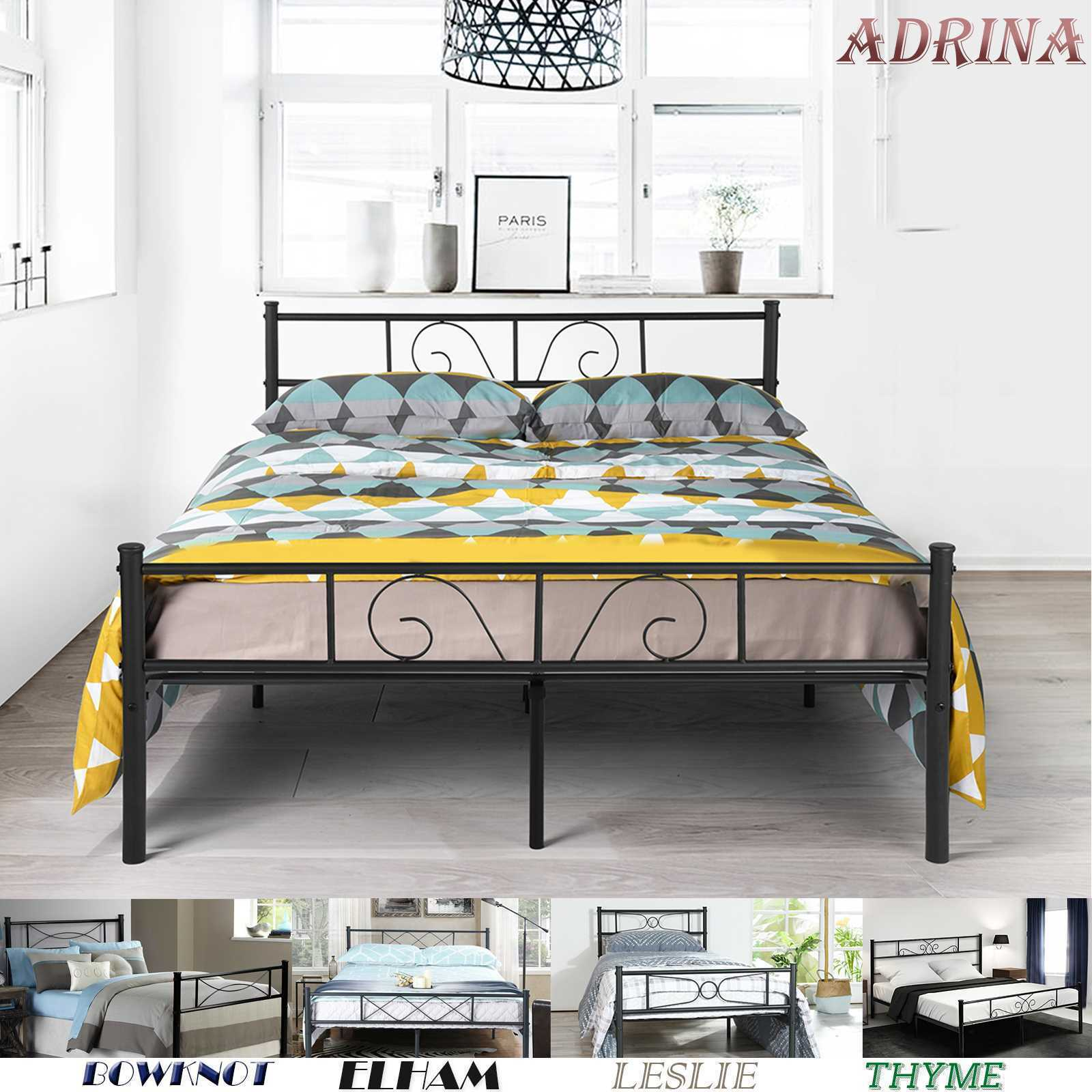 Platform Metal Bed Frame Foundation Headboard Furniture Bedr
