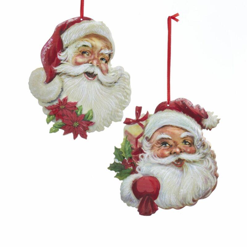 New Set Of 2 Different Metal Santa Head Ornaments G0185