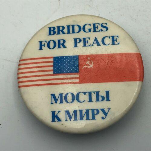 "Vintage US/USSR Flags Bridges For Peace 2-1/4"" Button Pin Pinback Cold War   S4"