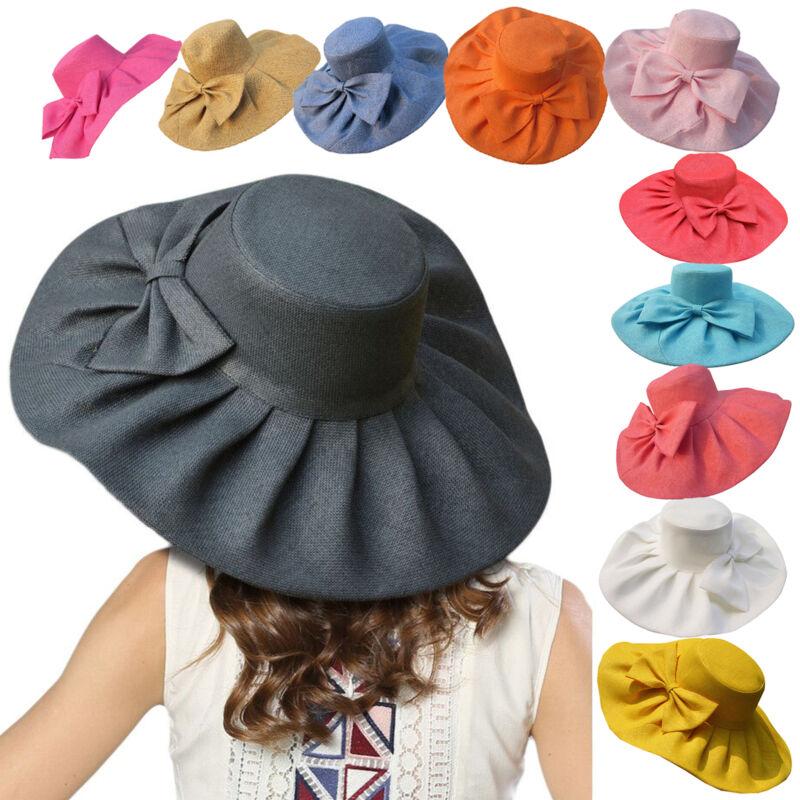 Huge Sun Beach Floppy Hats Linen Wide Brim Kentucky Derby Womens Hats A047