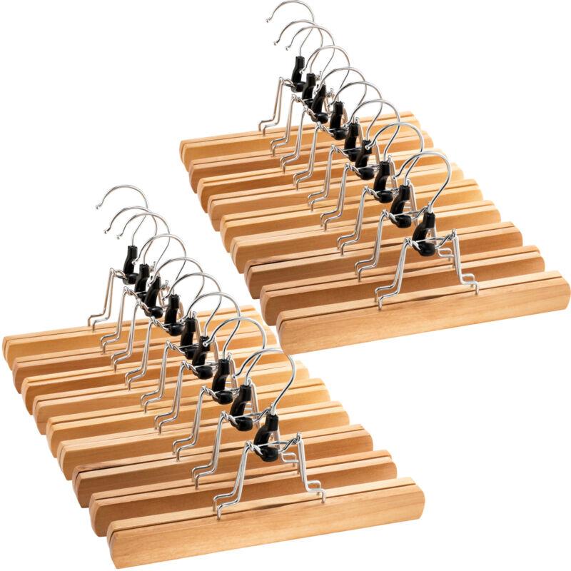High-Grade Wooden Pants Hangers with Clips Non Slip Slack Skirt Hangers, 20 Pack