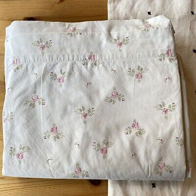 Simply Shabby Chic Light Green Rose Floral Queen Flat Sheet Cottage Core Farmhse