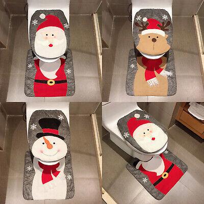 Christmas Toilet Seat Cover Mat Decor Rug Bathroom Set Reindeer Santa Snowman ()
