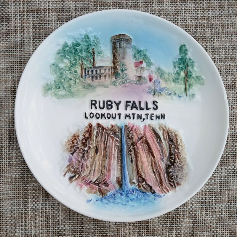 Relief Souvenir Plate RUBY FALLS Lookout Mountain TENNESSEE Cavern Castle painte