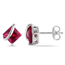 Amour Sterling Silver Created Ruby Stud Earrings