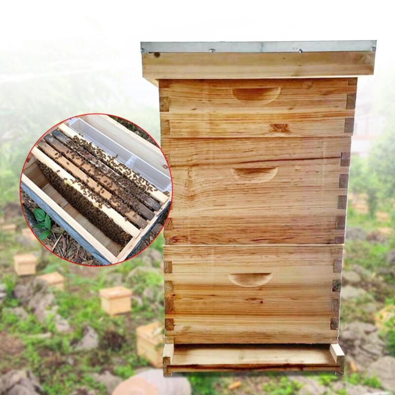 3-Lay 8-Frame Bee Hive House Heavy Wax Coated Deep Brood Super Box Waterproof US