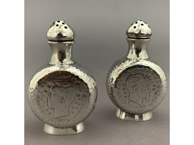 Shreve San Franciso Arts Crafts Sterling Silver Salt & Pepper Shakers Rare Coins