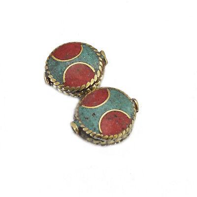 Turquoise Coral Brass 2 Beads Tibetan Nepalese Handmade Tibet Nepal UB2441