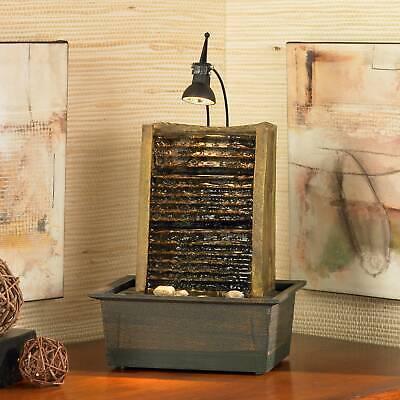 Zen Indoor Tabletop Water Fountain with Light LED 10 1/4