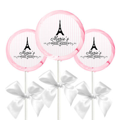 Paris Eiffel Tower Party Theme Lollipop Custom Stickers-TWO sizes to chose from!](Paris Themed Birthday Parties)