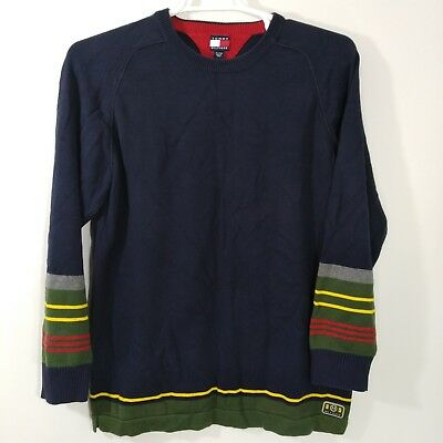 Mens Tommy Hilfiger Blue Green Stripe Sweater XL Crew Neck