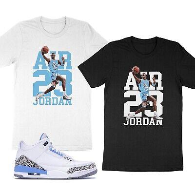 Michael Jordan Unisex T-Shirt Match Air Jordan 3 Retro UNC Carolina Adult Youth Solid Unisex T-shirt