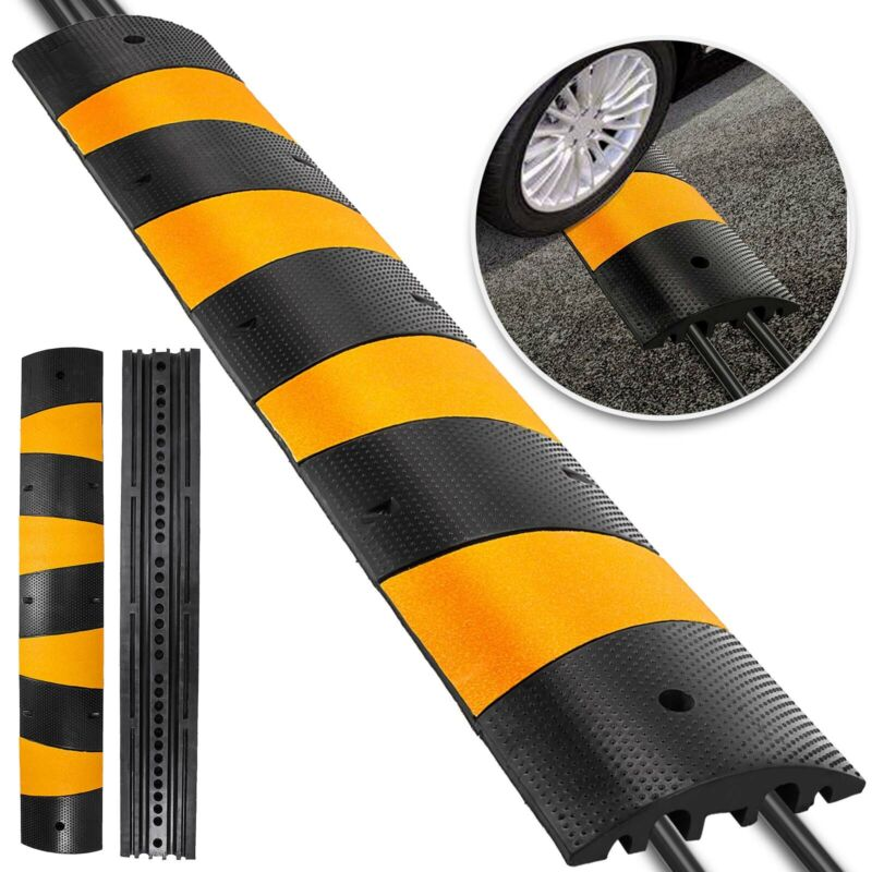"""Modular Rubber Speed Bump Hump Textured Surface 72"""" × 12"""" × 2.5"""" 6FT Cable Cover"""