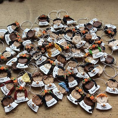 Wine Glass Charms Personalised wedding Handmade clay one only Bespoke - Personalized Wine Glass Charms