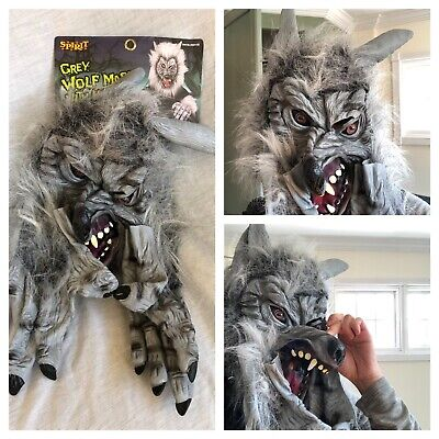 New Spirit Grey Wear Wolf Mask Hands Fur Adult Halloween Cosplay Costume Scary! - Scary Wolf Costume