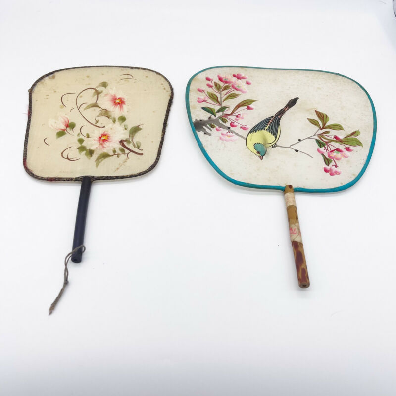 Vintage Chinese Hand Painted Silk Bamboo Handle Hand Fans Bird Flowers READ