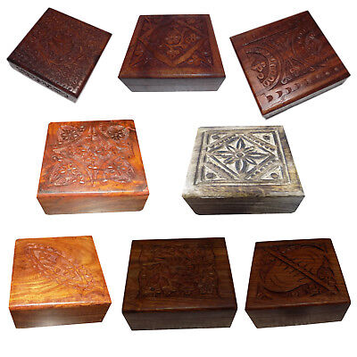 Carved Keepsake (Wooden Hand Carved Trinket Jewelry Box Organizer Keepsake Storage Chest Boxes )