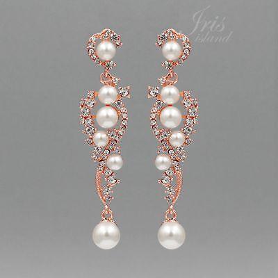 ROSE GOLD Plated Clear Crystal Pearl Wedding Chandelier Drop Dangle Earrings 089