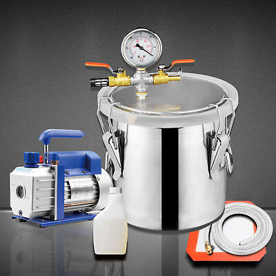2 Gallon Vacuum Chamber 3 Cfm Single Stage Pump Degassing Silicone Kit