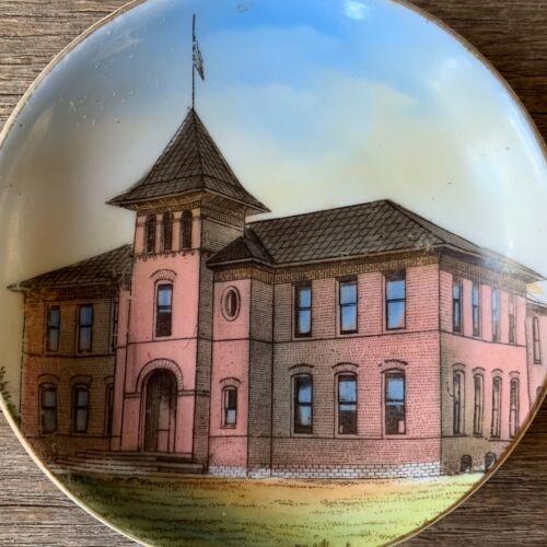 "Vintage HIGH SCHOOL Souvenir China ""Butter Pat"" Dish Plate SHERIDAN Montana"