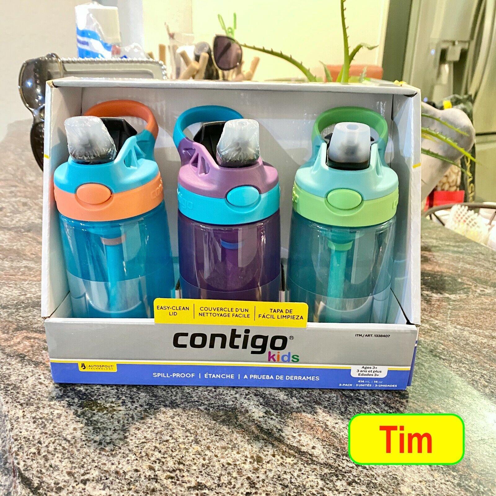 2020 NEW Contigo Kids Autospout Flip Water Bottle w/ Straw 1
