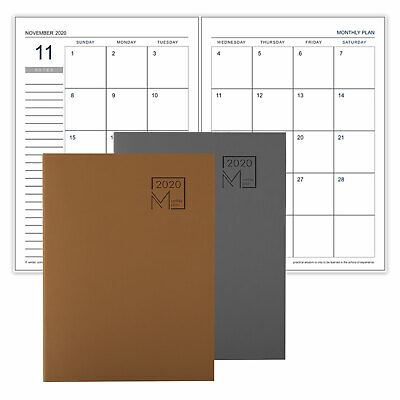 Functional Professional 12 Monthly Planner Book Luxurious Leather Notebook 2020