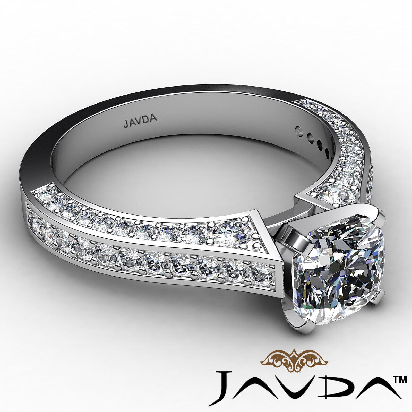 Cushion Diamond Engagement Pave Set Ring GIA J Color & VS2 clarity 1.82ctw 6