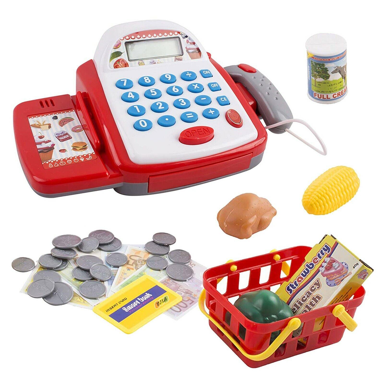 Toy Cash Register Pretend Play Supermarket Cashier Playset W