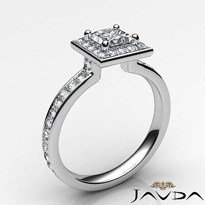 Halo Cathedral Micro Pave Princess Cut Diamond Engagement Ring GIA F SI1 0.95Ct 10