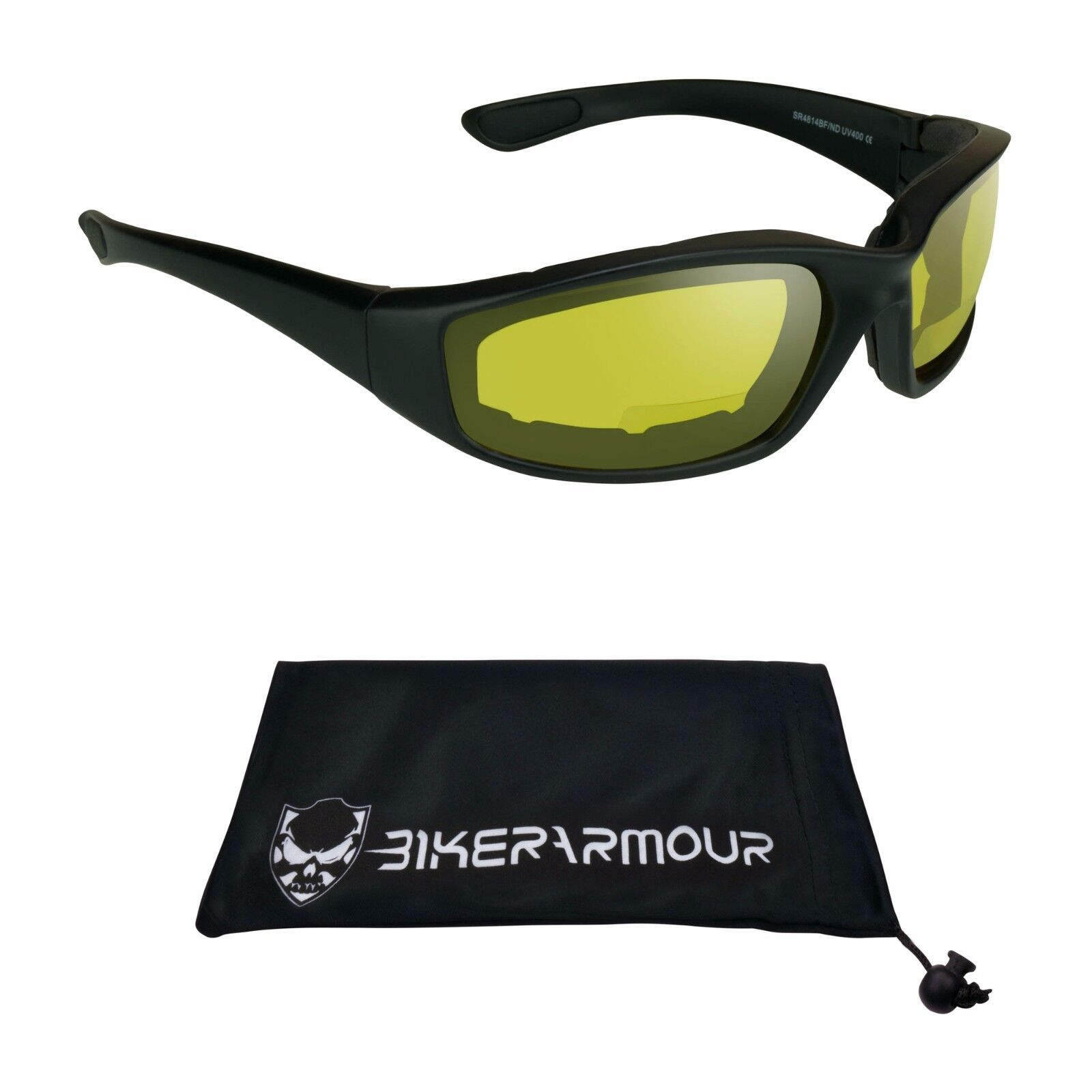 Yellow Bifocal Motorcycle Glasses Z87 Goggle Night Vision Foam Cushion Readers