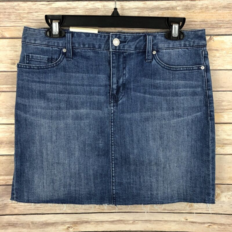 Tommy Hilfiger Skirt WOMENS 4 Medium Wash Zip Frayed Cotton Blend Pockets NEW