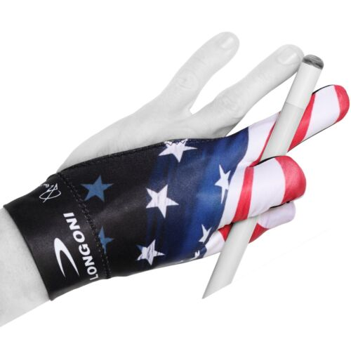 LONGONI Billiard POOL CUE GLOVE Fancy Flag 3 for Left hand + FREE SHIPPING!