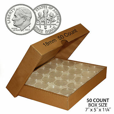 50 DIME Direct-Fit Airtight 18mm Coin Capsule Holder DIMES (QTY: 50) with BOX