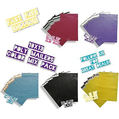 100 Poly Mailers 10x13 Mix Color Variety Pack 20 Ea