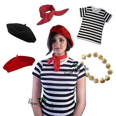 Französisch Damen-Kostüm Kostüm Top Barett Knoblauch Girlande Krawatte - Französisches Barett Kostüm