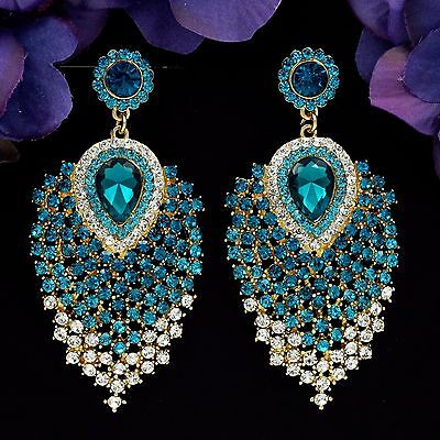 18K Gold Plated Blue Crystal Peacock Feathers Drop Dangle Earrings 04677 Prom - Peacock Blue Crystal