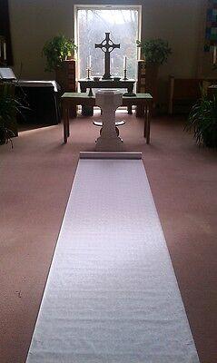75ft White Fabric Rose Print Wedding Aisle Runner