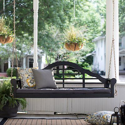 Eucalyptus Wood Wood Finish - Black Finish Eucalyptus Wood Arched Back Outdoor Porch Swing With Gray Cushion