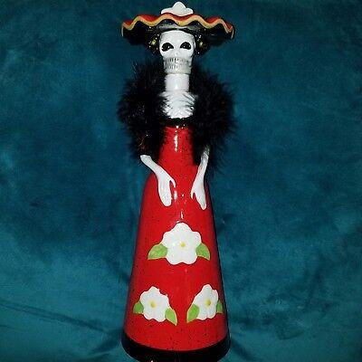RARE LA CATRINA CERAMIC Skeleton Bottle Decanter LIMITED Kah tequila skull 14in. for sale  USA