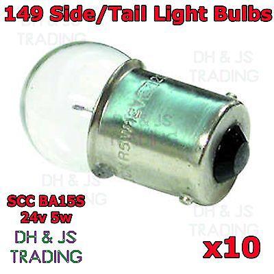 10 x 149 Side Tail Light Bulbs 24v 5w Bulb Car Auto Van Commercial Lorry BA15S