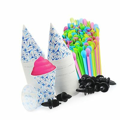 Set Of 406- 200 Snow Cone Cups 6 Oz And 200 Sno-cone Spoon Drinking Straws ...