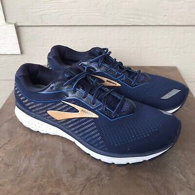 Brooks Ghost 12 Men's Running Shoes Size 13 2E Wide Navy Blue Gold Sneakers