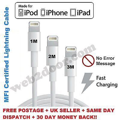 MFI USB Lightning Charger Cable Fits For iPhone 5 6 6s 7 Plus 1M / 2M / 3M