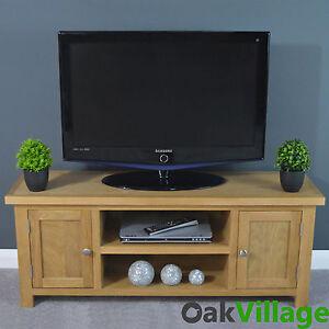 OAKWOOD OAK LARGE PLASMA TV UNIT / MEDIA CABINET / SOLID WOOD / TV STAND / NEW