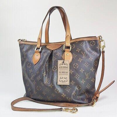 Authentic Louis Vuitton Palermo PM Monogram M40145 Broken Holding Leather ALA368