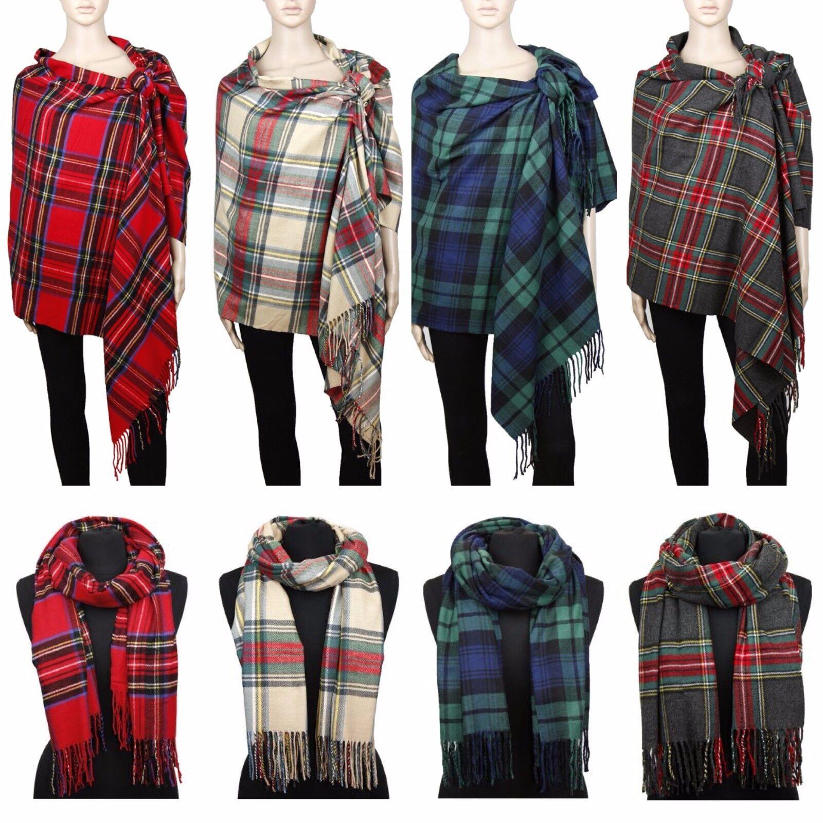 Scarf - Cashmere Feel Blanket Scarf Large Scottish Tartan Plaid Shawl Wrap Winter Warm