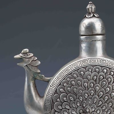 BOUTIQUE COLLECTIBLE MIAO SILVER HANDWORK CARVED PEACOCK TEAPOT