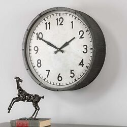 Aged Black Wall Clock Black 22D Round Industrial Ribbed Metal Frame Large New
